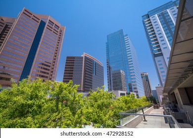Financial district area of downtown Phoenix  Arizona in USA