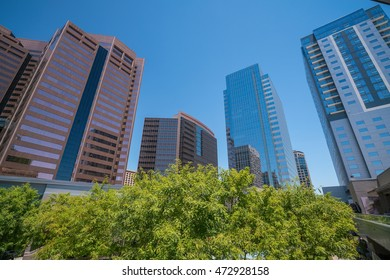 Financial district area of downtown Phoenix  Arizona in USA