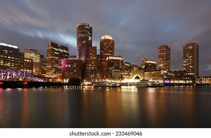 Financial District of Boston at Sunset, Boston, Massachusetts, USA