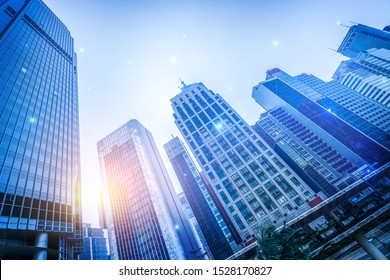 Financial district and business centers in smart city in technology concept