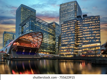 The financial district Canary Wharf in London during sunset