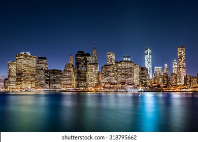 Financial District at dusk, in New York City