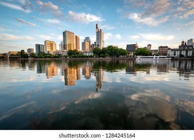 Financial district Frankfurt reflection in River Main