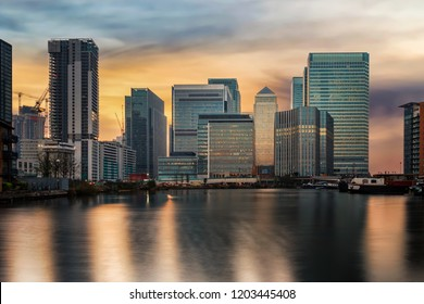 The financial district of London, Canary Wharf, with the diverse skyline, during sunset time, United Kingdom