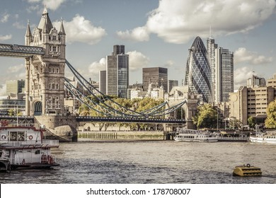 Financial District of London and the Tower Bridge