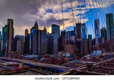The financial district on Manhattan in New York as seen from the Brooklyn bridge.