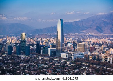Financial district in Santiago, Chile. Costanera Center