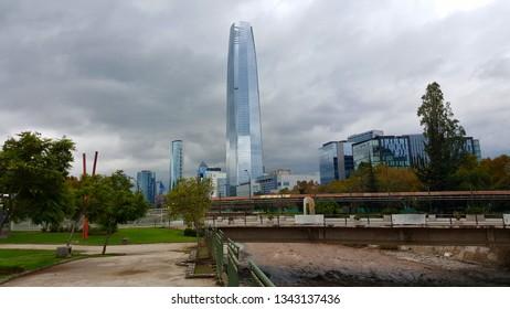 The Financial District of Santiago de Chile from Esculturas Park (Parque de Las Esculturas)