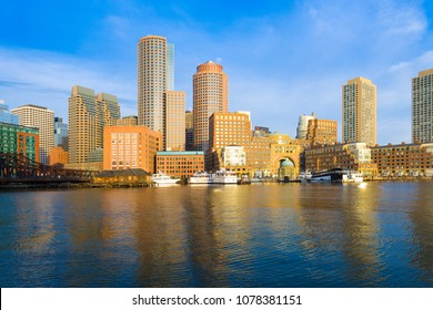 Financial District Skyline and Harbour at Dawn, Boston, Massachusetts, USA