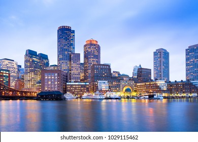 Financial District Skyline and Harbour at Dusk, Boston, Massachusetts, USA - Shutterstock ID 1029115462