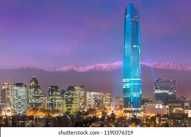 Financial district skyline with Los Andes Mountains in the back, Las Condes, Santiago de Chile