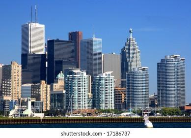 Financial district of Toronto. Horizontal oriented picture of Toronto Financial District.
