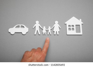 Financial family concept, house and car dream.