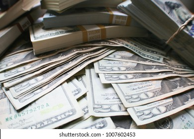 Financial Freedom With 20's & Stacks Of Hundreds High Quality Stock Photo