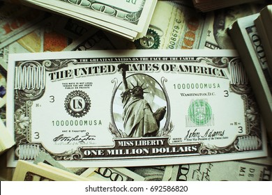 Financial Freedom With A Million Dollar Bill Surrounded By Stacks Of Money