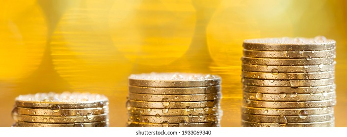 Financial freedom, pension, wealth concept. Banner of gold money coins.