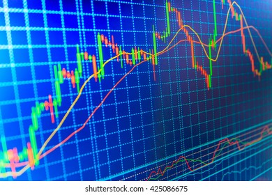 Financial graph on a computer monitor screen. Stock trade live. Share price quotes. Stock diagram on the screen. Finance concept. Price chart bars.