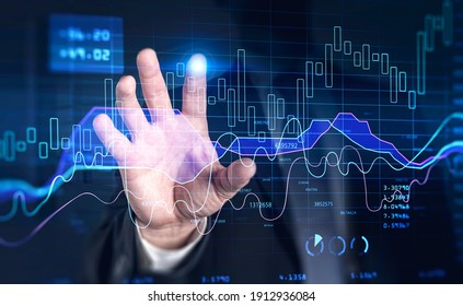 Financial graph showing increase of price in stock market, internet trading concept, business person touching chart by finger. Forex. Double exposure
