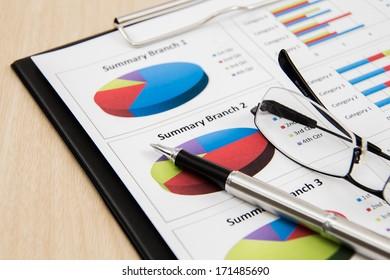 Financial graphs and charts accounting