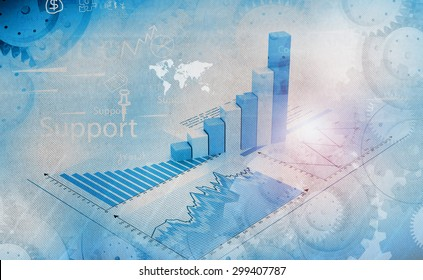 Financial graphs and charts shows business growth, background image