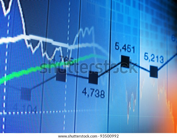 Financial graphs on a monitor. Finance data concept.