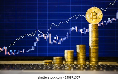 Financial growth concept with golden Bitcoins ladder on forex chart background. Photo (new virtual money)
