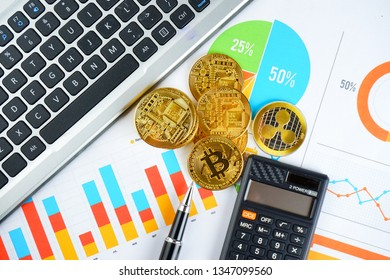 Financial growth concept. Histogram with Bitcoin, keyboard and printed graph. Photo new virtual money