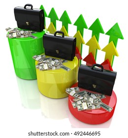 financial growth in the design of information related to business and economy. 3d illustration