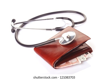 financial health concept, a stethoscope on brown wallet with money