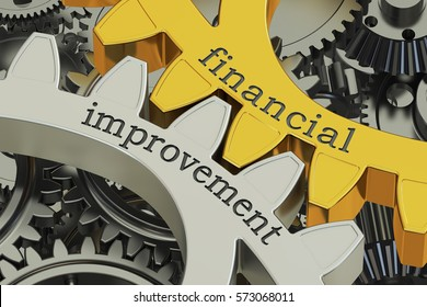 financial improvement concept on the gearwheels, 3D rendering