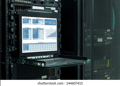 financial information show on the server computer display.