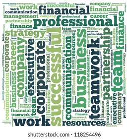 Financial info-text graphics and arrangement concept on white background (word cloud)