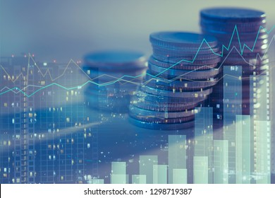 Financial investment concept, Double exposure of city night and stack of coins for finance investor, Forex trading candlestick chart, Cryptocurrency  Digital economy. economy growing.