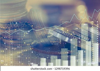 Financial investment concept, Double exposure of city night and stack of coins for finance investor, Forex trading candlestick chart, Digital economy , ECN