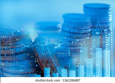 Financial investment concept, Double exposure of city night and stack of coins for finance investor, Forex trading candlestick chart, Digital economy