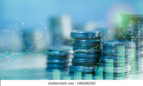 Financial investment concept, Double exposure of city night and stack of coins for finance investor, Forex trading candlestick chart, ECN Digital economy