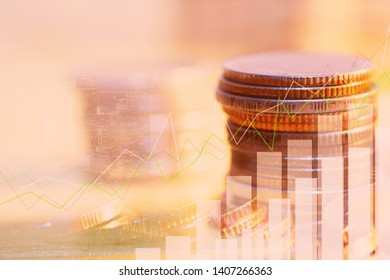 Financial investment concept, Double exposure of city night and stack of coins for finance investor, Forex trading candlestick chart economic , ECN Digital economy.