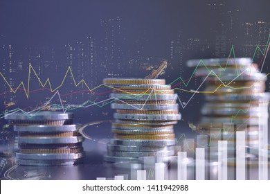 Financial investment concept, Double exposure of city night and stack of coins for finance investor, Forex trading candlestick chart economic , ECN Digital economy, best, technology, Industry.