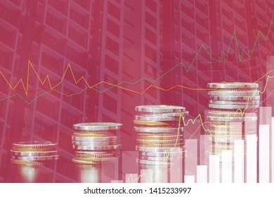 Financial investment concept, Double exposure of city night and stack of coins for finance investor, Forex trading candlestick chart economic , ECN Digital economy, top.