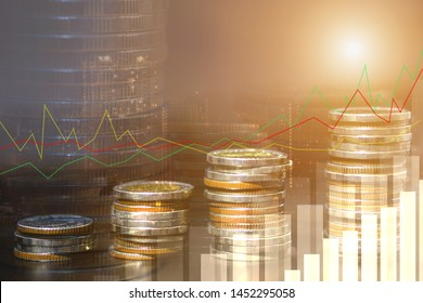 Financial investment concept, Double exposure of city night and stack of coins for finance investor, Forex trading candlestick chart economic , ECN Digital economy, business background.