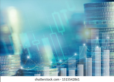 Financial investment concept, Double exposure of city night and stack of coins for finance investor, Forex trading candlestick chart, Cryptocurrency of Digital economy. background for invest , stock