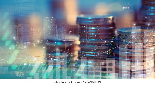 Financial investment concept, Double exposure of city night and stack of coins for finance investor, Forex trading candlestick chart, Cryptocurrency of Digital economy. background for invest , stock - Shutterstock ID 1736368823