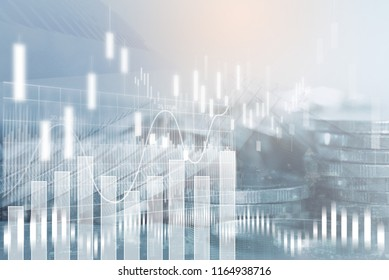 Financial investment concept. Stock market or forex trading graph and stock exchange, summary chart, economy trends background. Abstract finance background for business presentation.