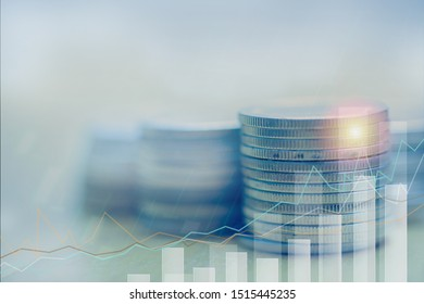 Financial investment growing concept, Double exposure of city night and stack of coins for finance investor, Forex trading candlestick chart, ECN Digital economy