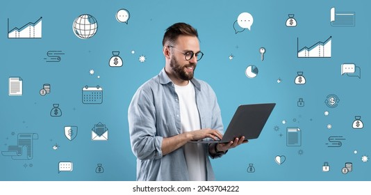 Financial literacy, economic education, money savings concept. Young Caucasian man with laptop using online banking service, taking educational investments course, blue background with pictograms