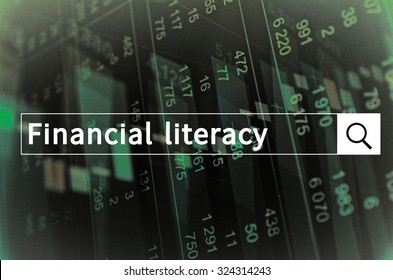 Financial literacy written in search bar with the financial data visible in the background. Multiple exposure photo.