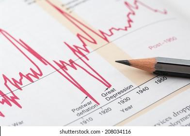 financial market chart , gray pencil. selective focus