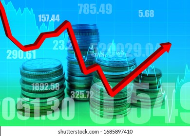 The financial market is showing growth. A growing graph as a symbol of rebound. A stack with manners on the background of quotes. Stock growth. Rebound after a long crisis. Economic recovery