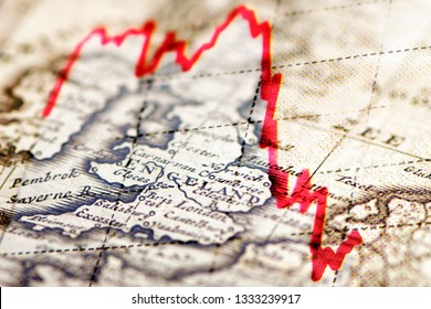 Financial market trend on top of an old map of England
