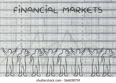 financial markets: group of traders with mixed feelings, happy or sad